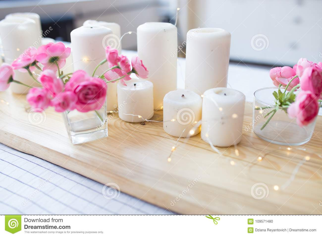 Candles With Lights. Composition On The Table. Cute Home Decor With ...