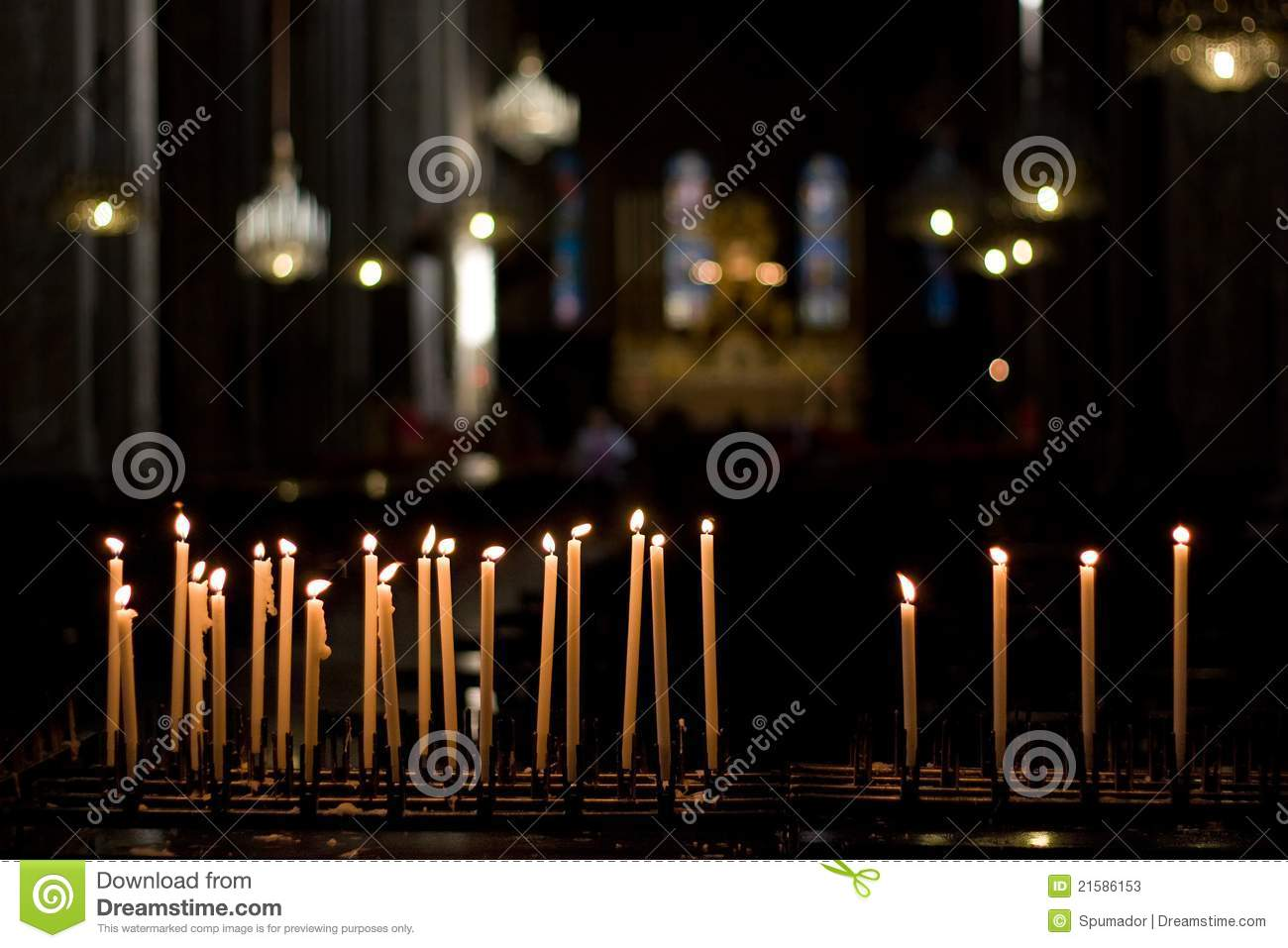 Candles lit in church
