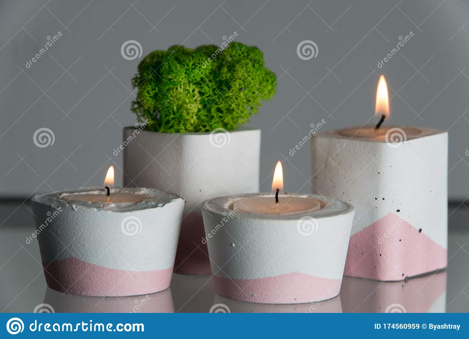 Candles And Moss In White And Pink Concrete Candle Holders Stock Image Image Of Lifestyle Glow 174560959