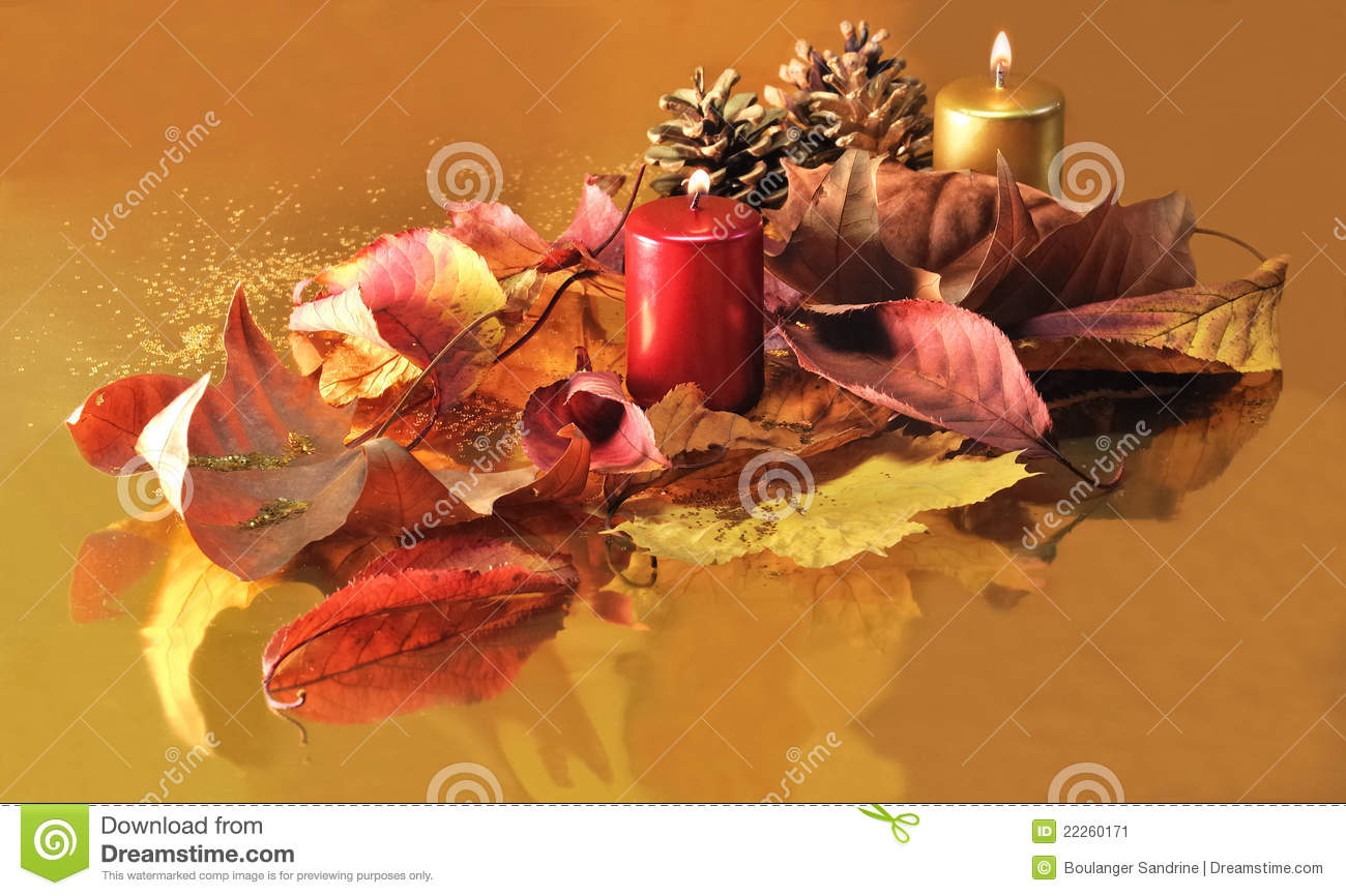 Candles red and gold christmas decorations stock image for Red and gold christmas decoration ideas
