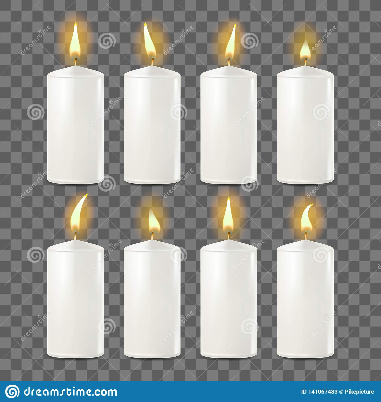 Candles Set Vector. White. Religion, Church Prayer. Transparent Background. Isolated Realistic Illustration