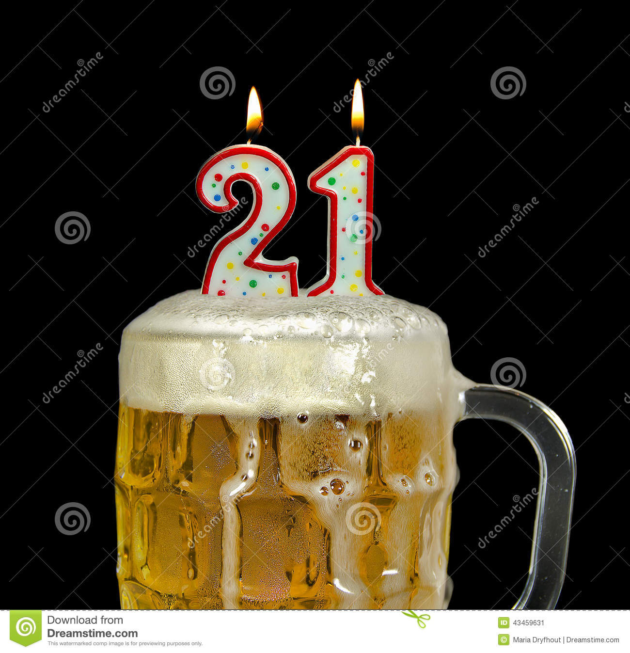 Birthday Of Candles Drink - Birthday 21st Beer Image For 43459631 In Stock