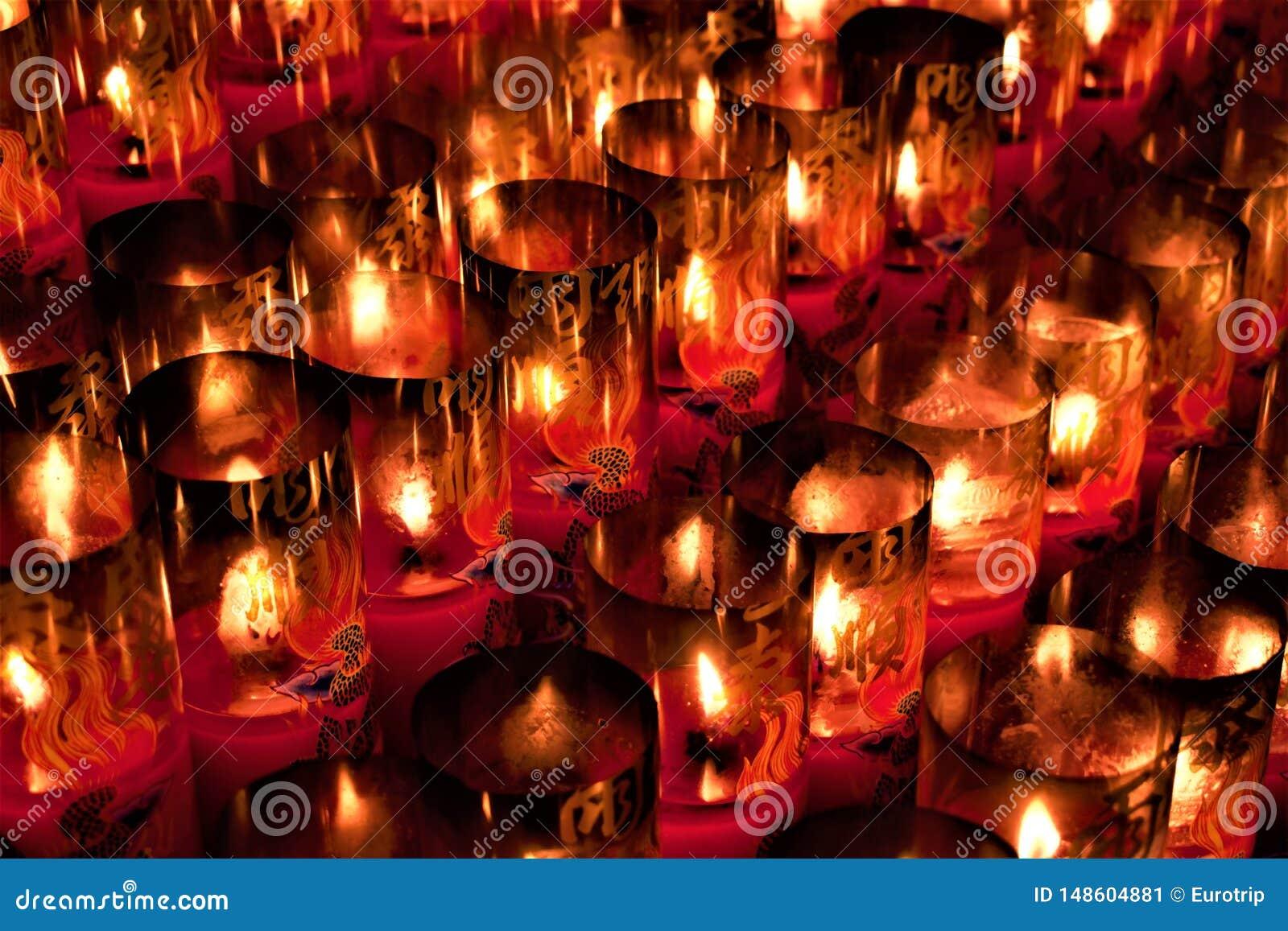 Candles in a Taoist temple in Taipei, Taiwan