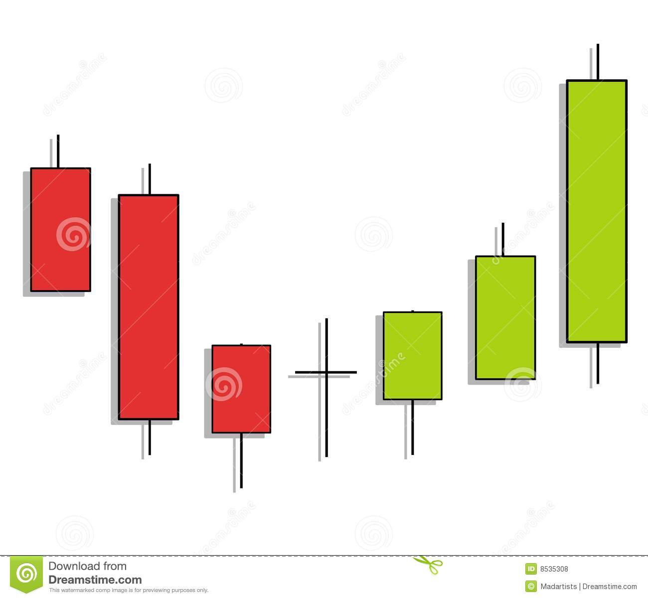An illustration featuring a candlestick chart pattern showing a trend ...
