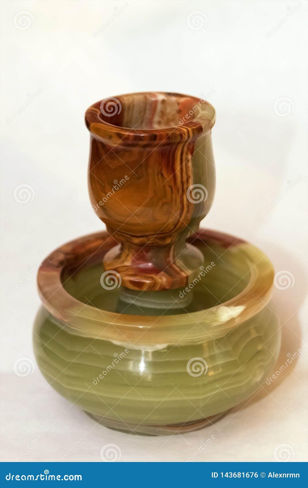 Candlestick, onyx stone vase