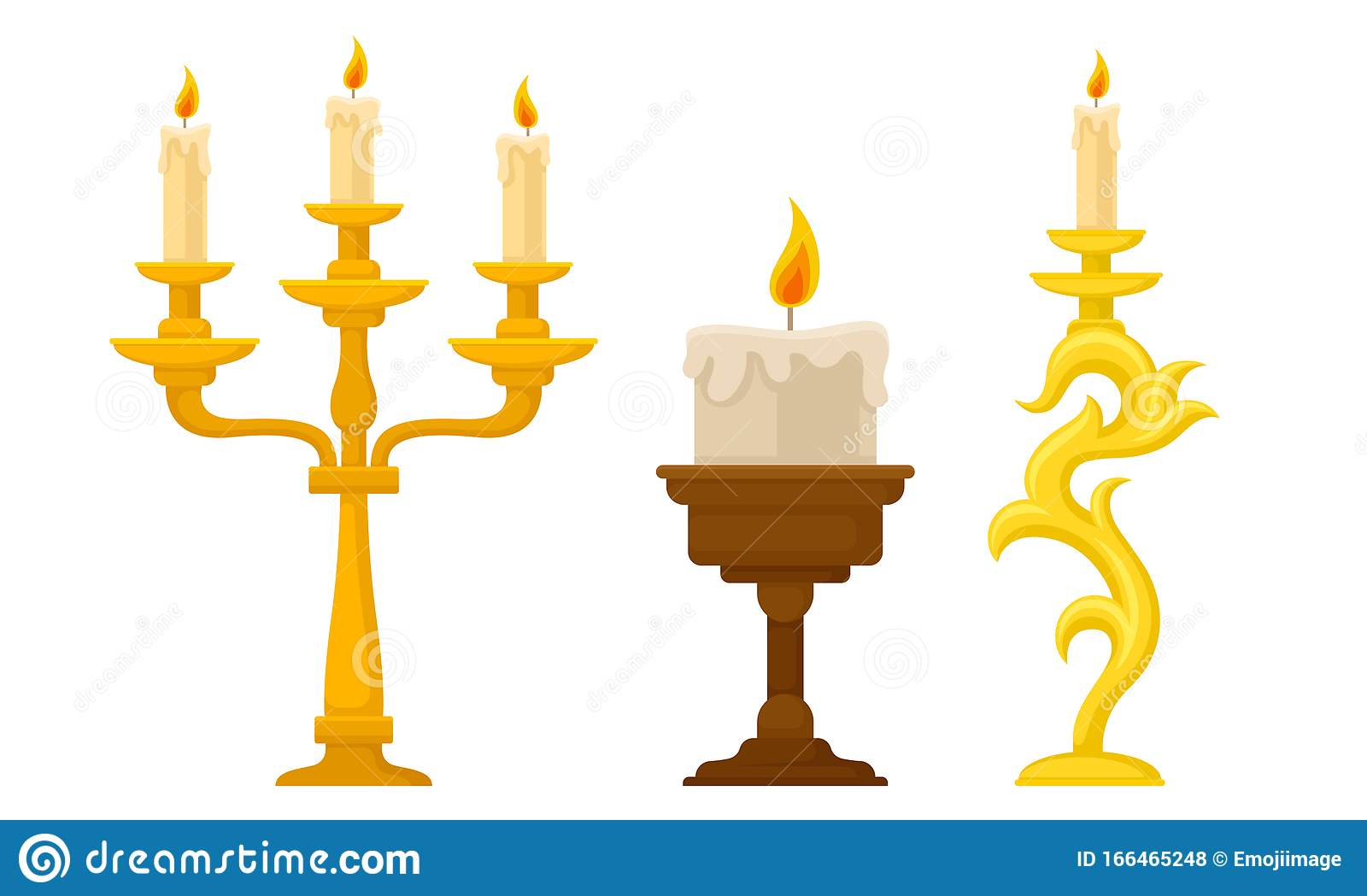 Candlesticks With Burning Candles Vector Set Vintage Candle Holders And Candelabrums Stock Vector Illustration Of Element Bronze 166465248
