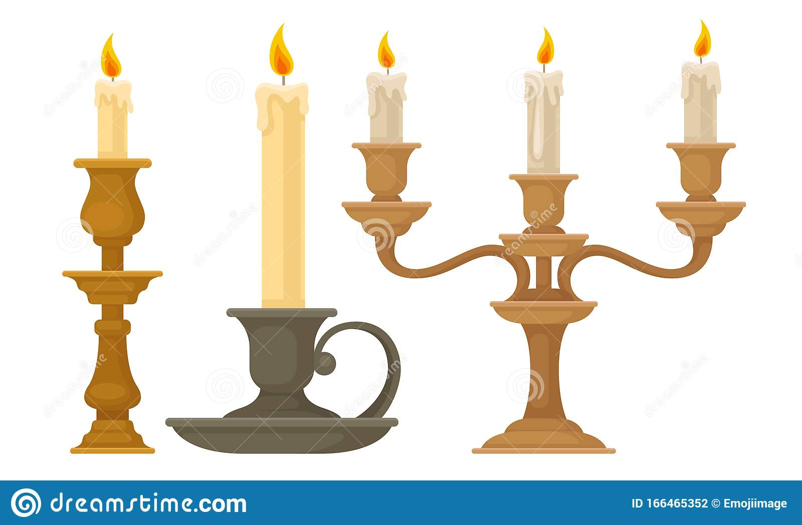 Candlesticks With Burning Candles Vector Set Vintage Candle Holders And Candelabrums Stock Vector Illustration Of Handle Candelabrum 166465352