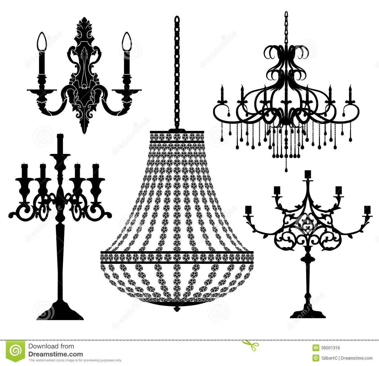 Candlesticks And Chandeliers Stock Vector Image 39001316 : candlesticks chandeliers set vector illustration 39001316 from dreamstime.com size 1300 x 1258 jpeg 191kB