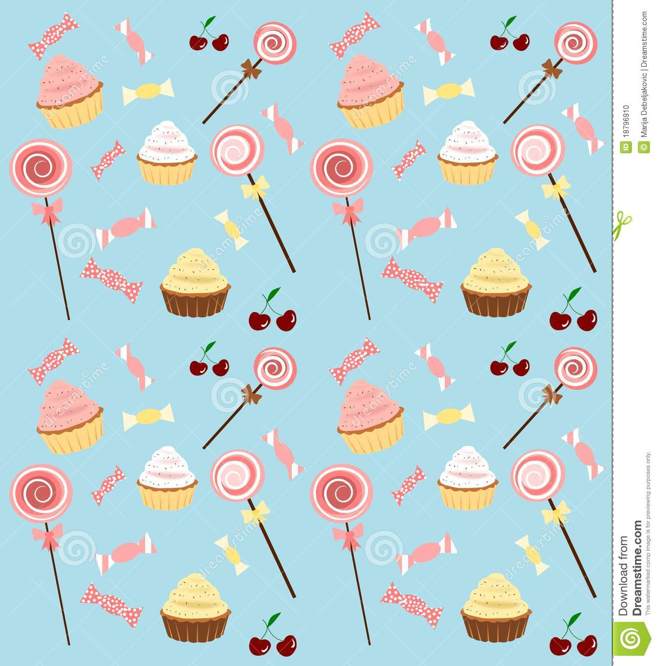Seamless background with lollipops cupcakes and candies.