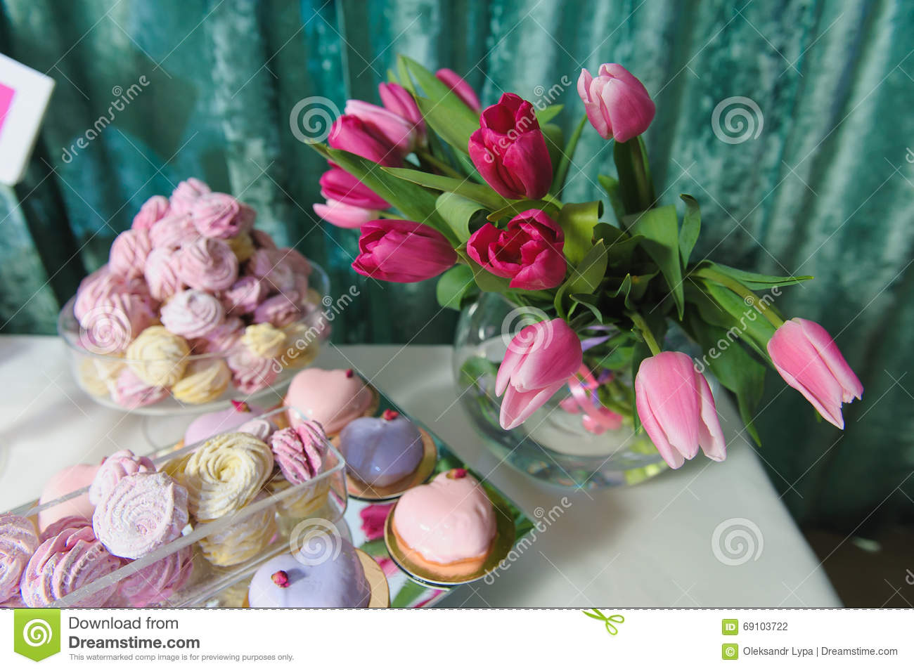Candy Bar With Fresh Flowers. Stock Photo - Image of gender, baby ...