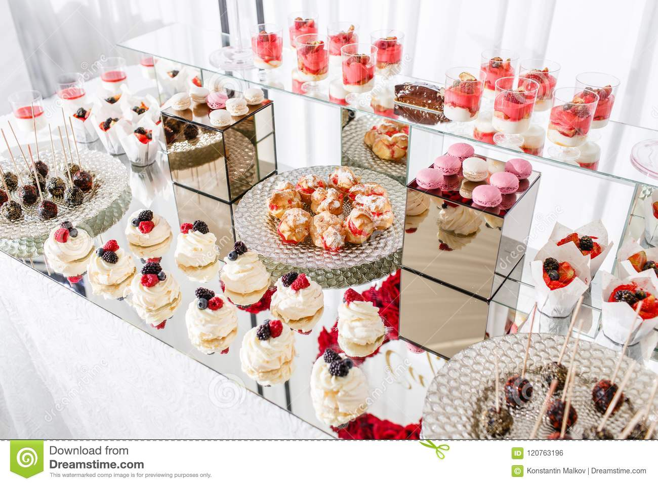 Candy Bar With A Lot Of Desserts, Meringue, Cupcake, Fruit