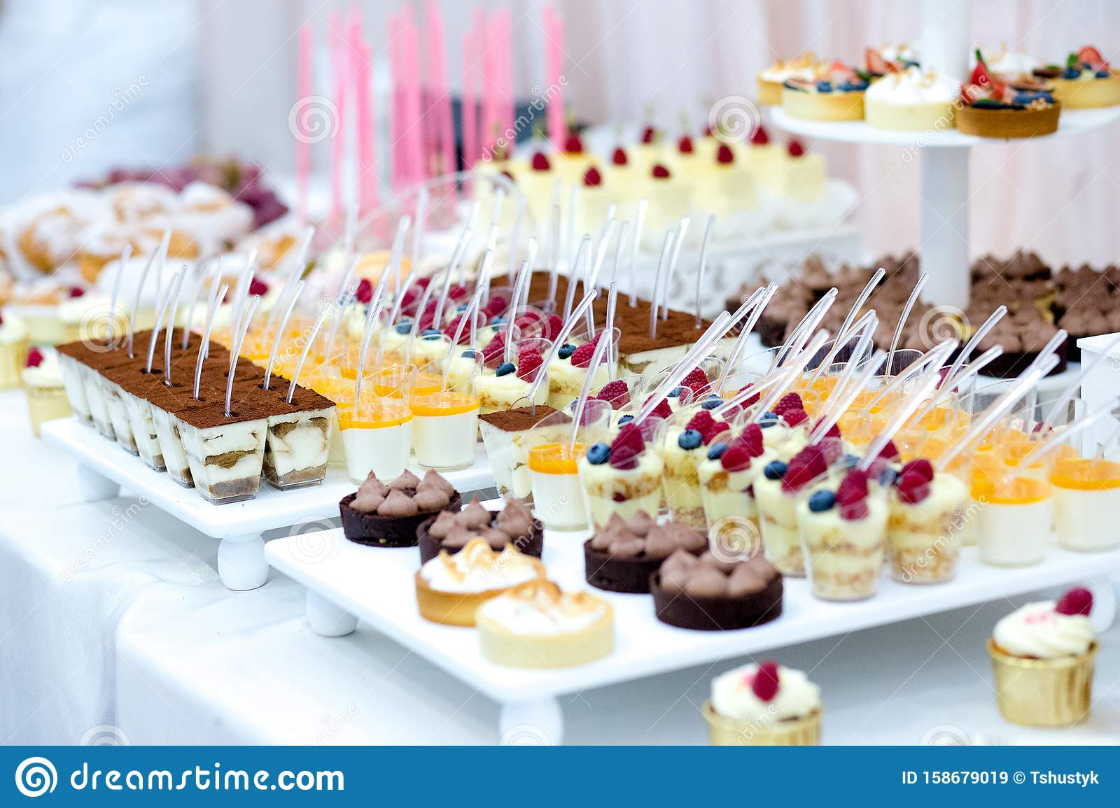 Candy Bar With Macarons Cakes Cake Pops Close Up Stock Image Image Of Lace Macaroon 158679019