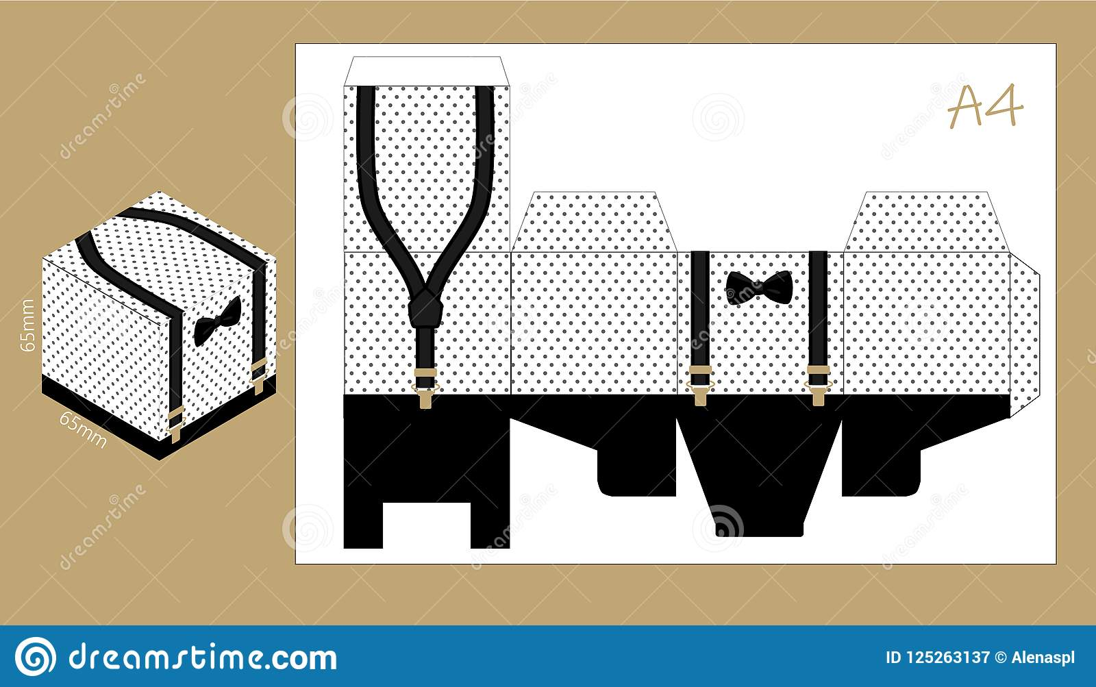 Paper Box With Suspenders And Bow Tie Printable Template