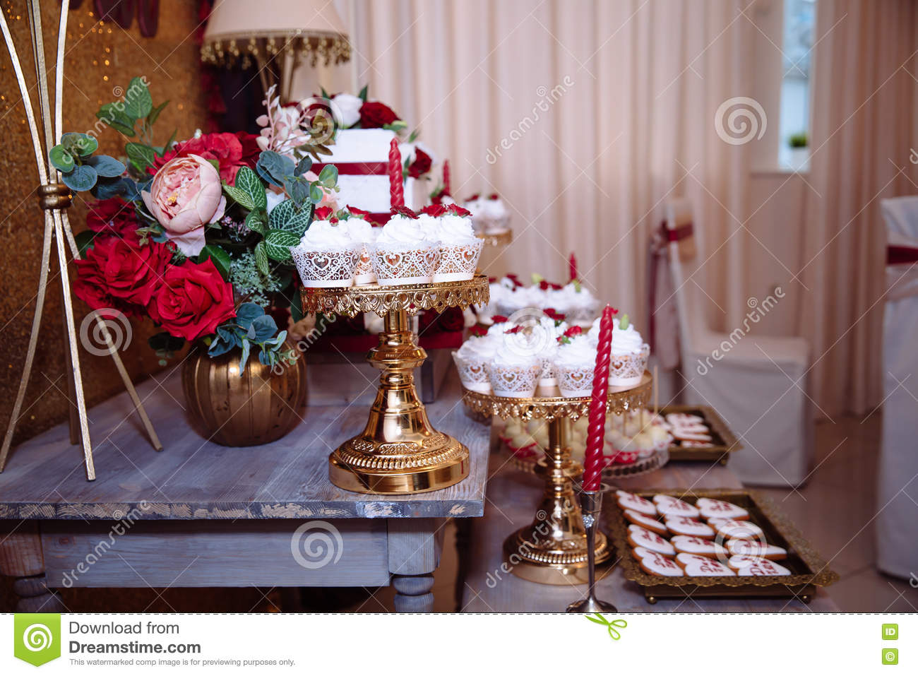 Candy Bar Red Colour Marsala Table With Wedding Cake Sweets