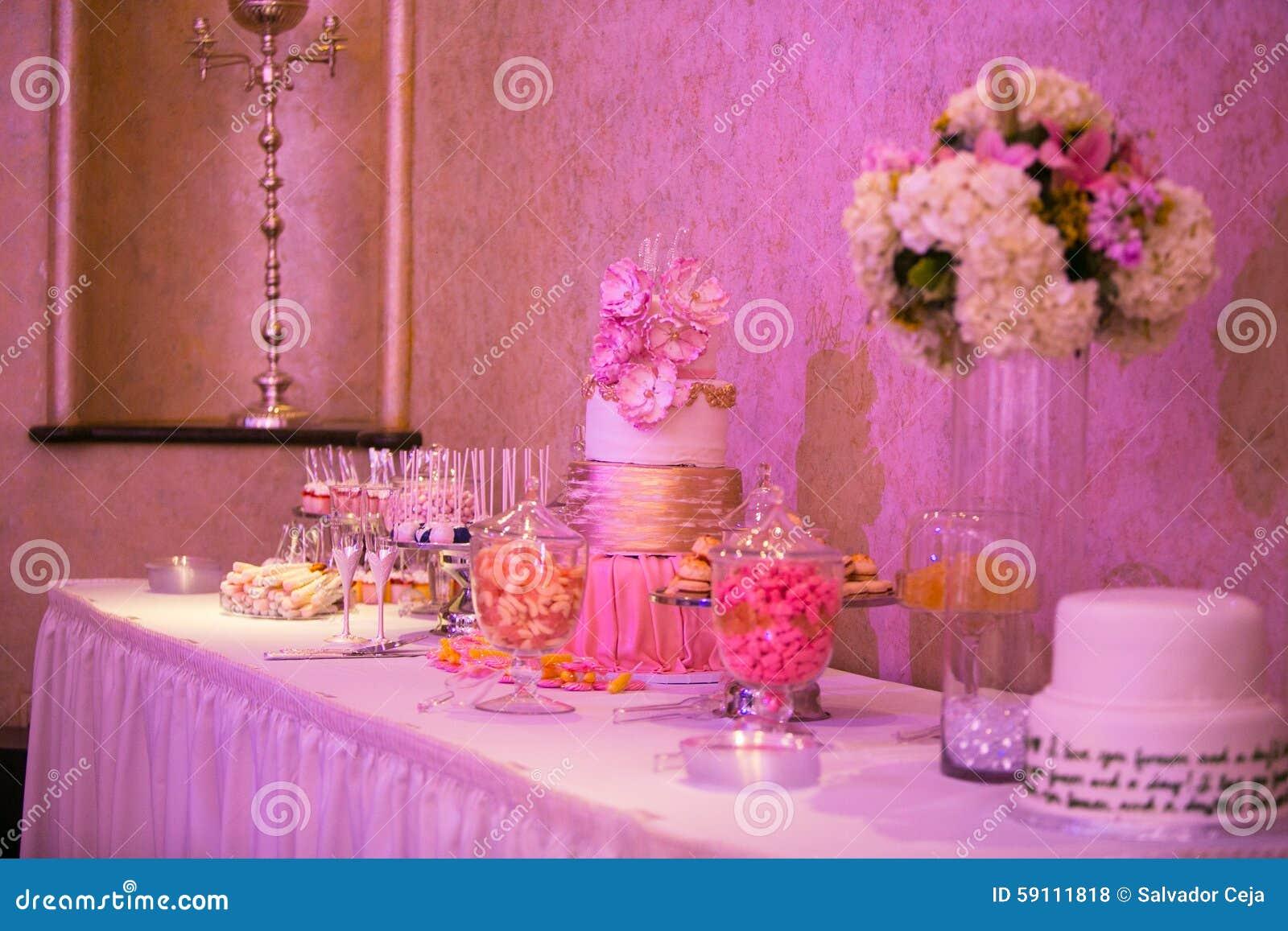 Candy bar table stock photo. Image of dark, light, arrangement ...