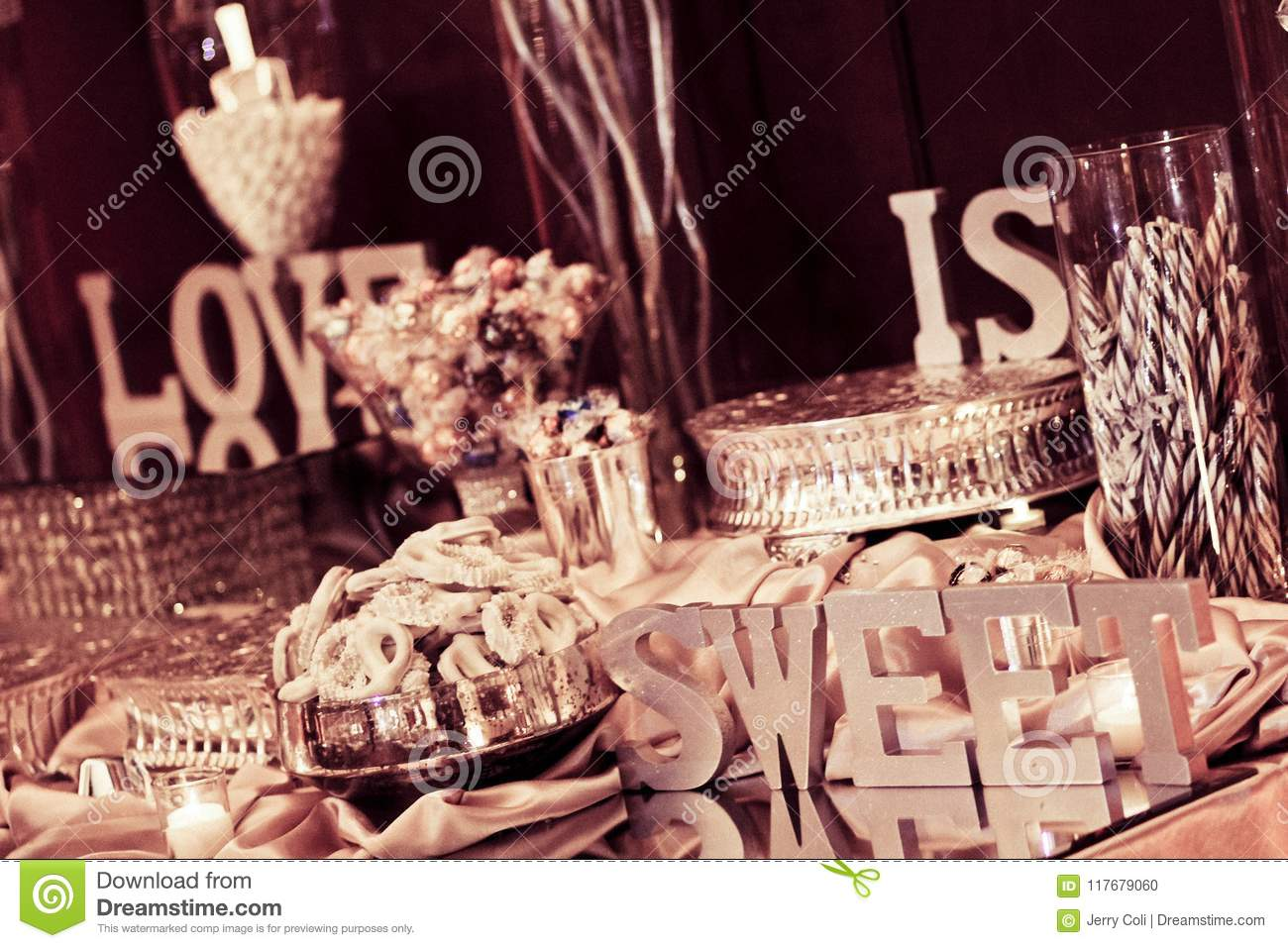 Candy Bar At A Wedding Reception Stock Photo Image Of Groom