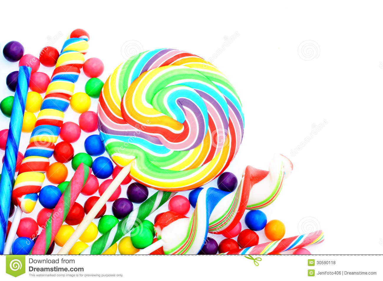 Colorful candy corner border with lollipops and gumballs.