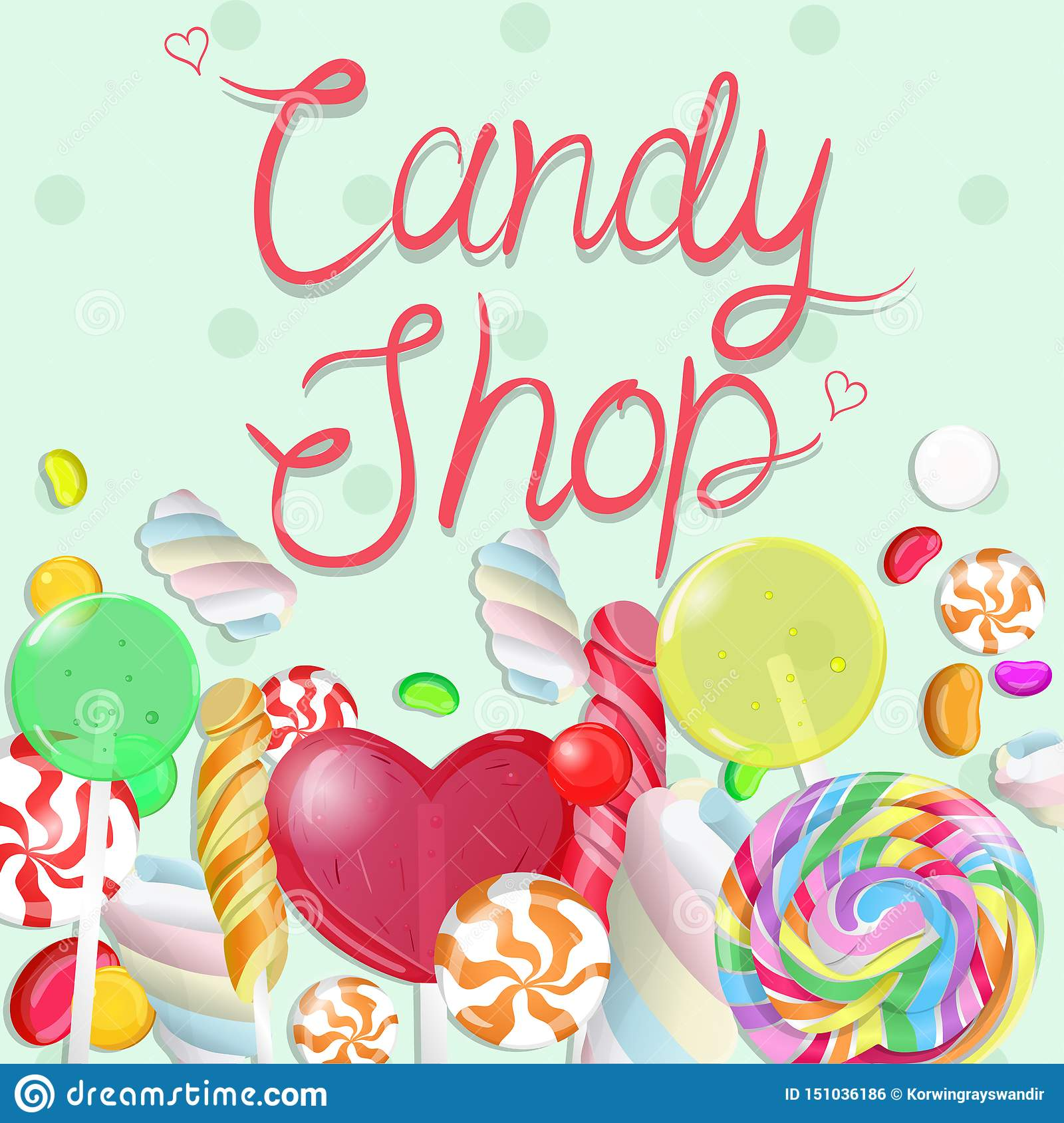 Candy border. Inscription Candy shop. Vectrical illustration