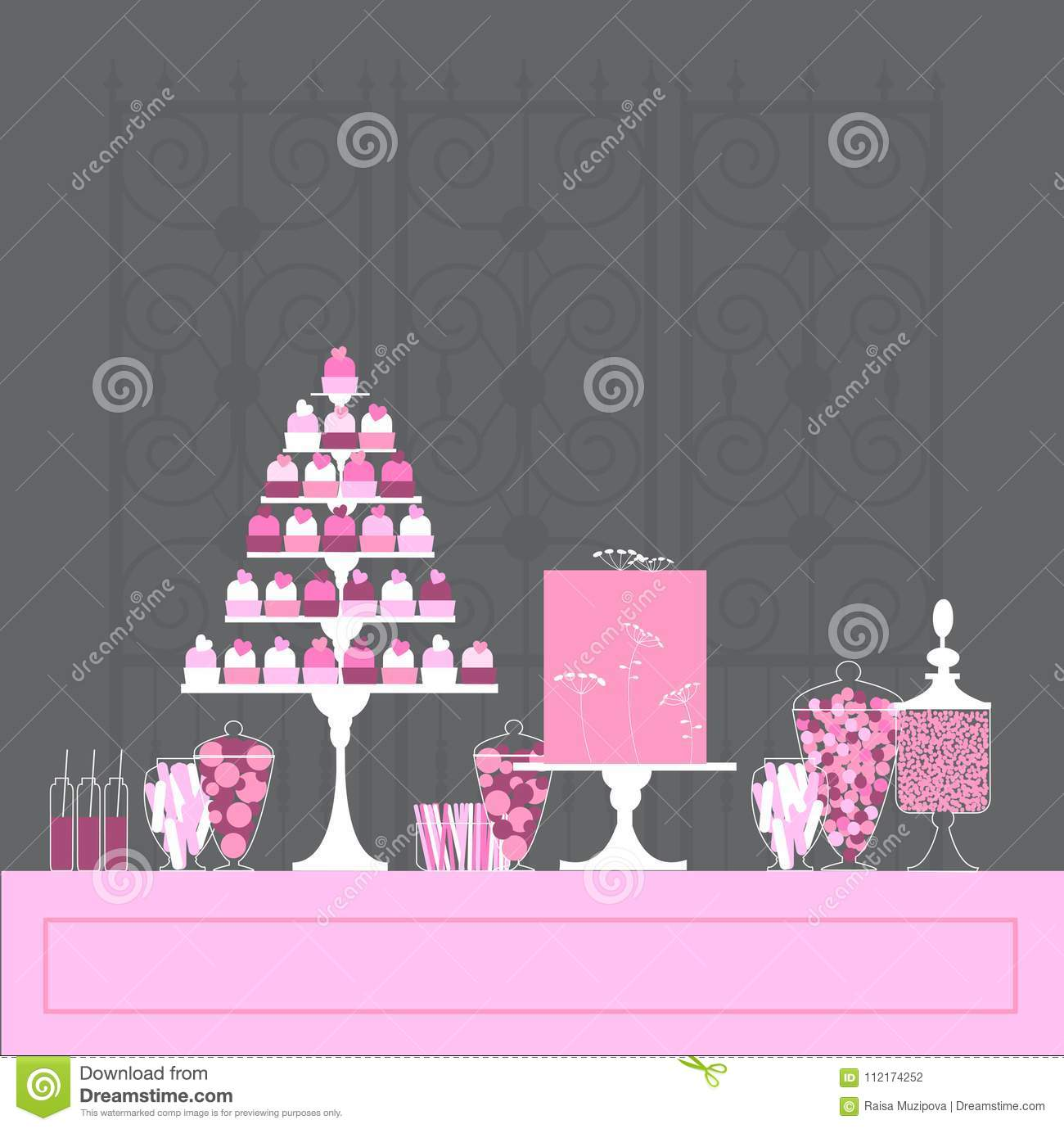 Candy buffet with cupcakes and cake stock vector illustration of download candy buffet with cupcakes and cake stock vector illustration of love illustration watchthetrailerfo