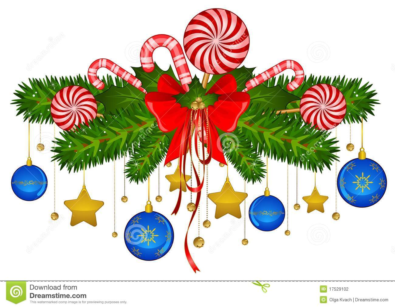 Christmas Decorating Clip Art.Candy Cane And Bolls Stock Vector Illustration Of Holiday
