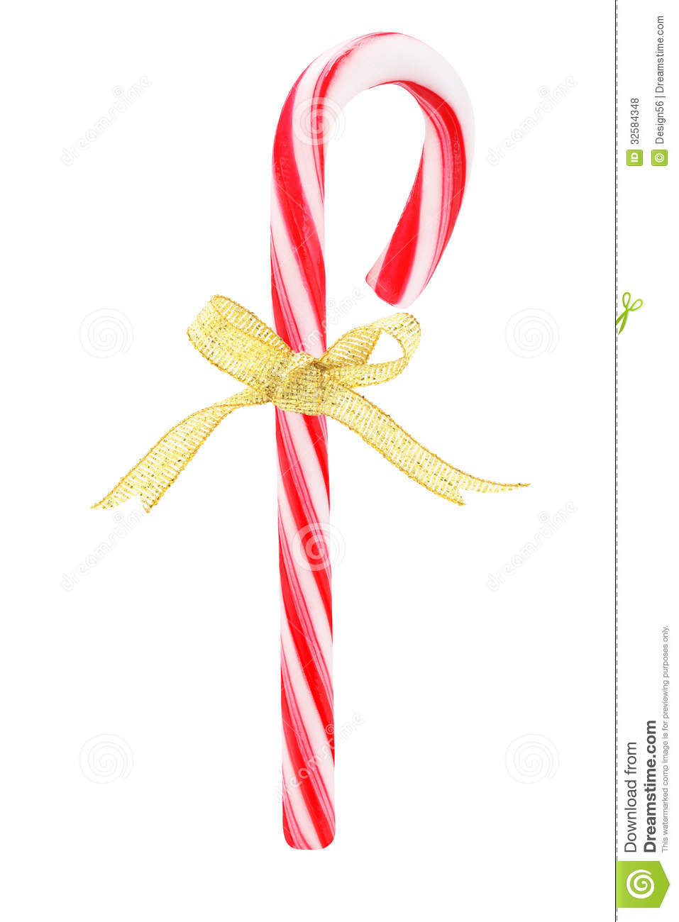 Candy Cane With Bow Ribbon Royalty Free Stock Photos - Image: 32584348
