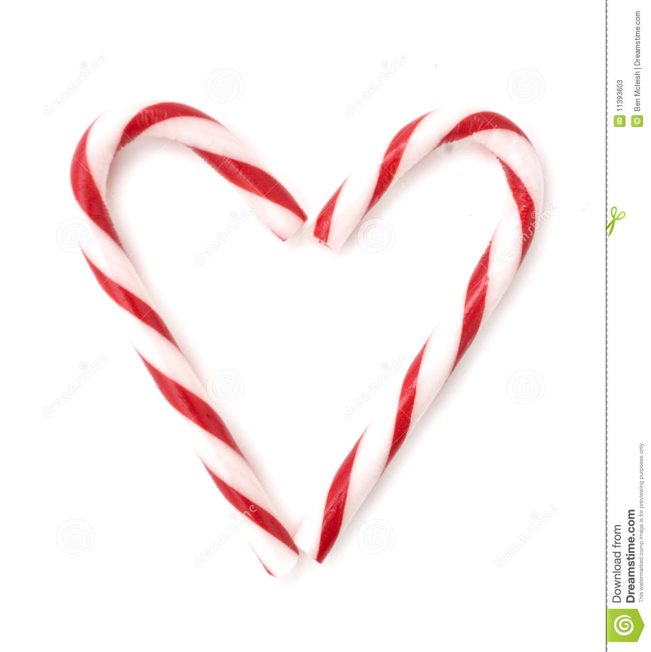Candy cane heart stock image of snack round