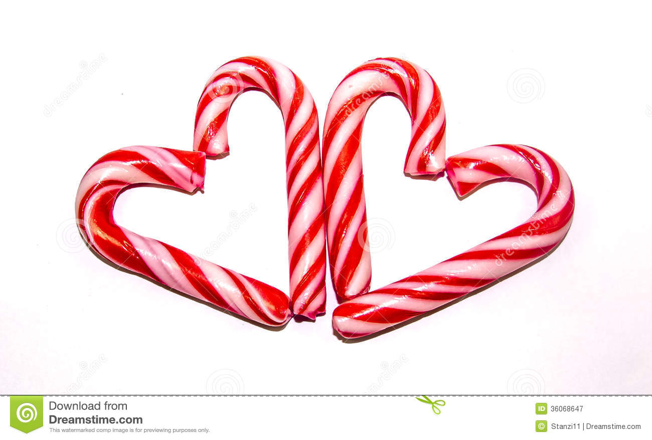Candy cane hearts stock image of white