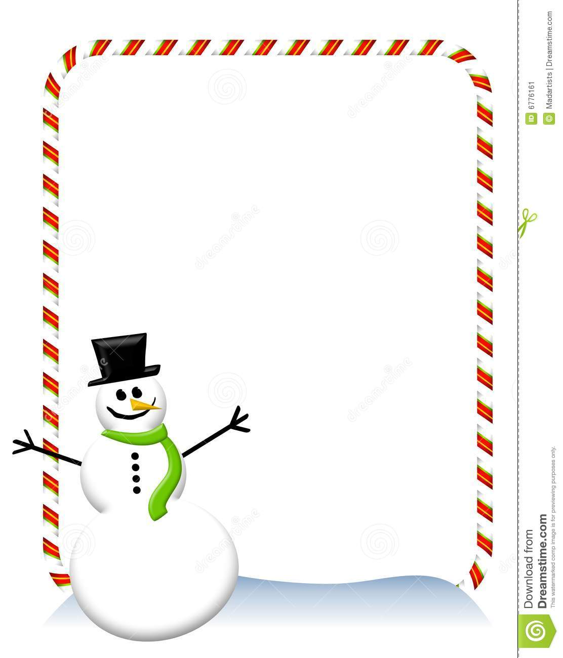 Candy Cane Snowman Border 2 Stock Image - Image: 6776161
