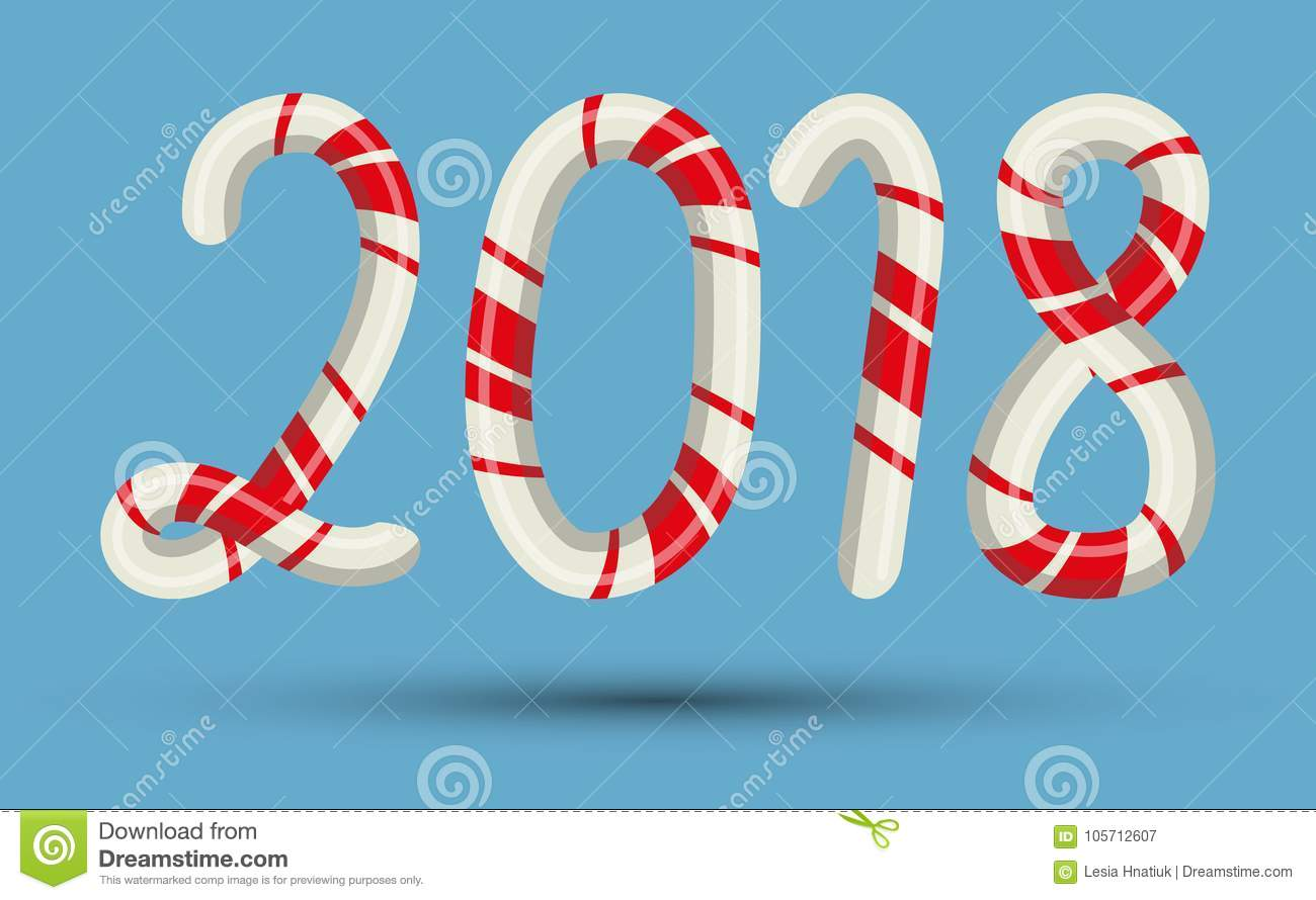 Candy Cane 2018 Text Numbers Mint Hard Striped In Christmas Colours ...