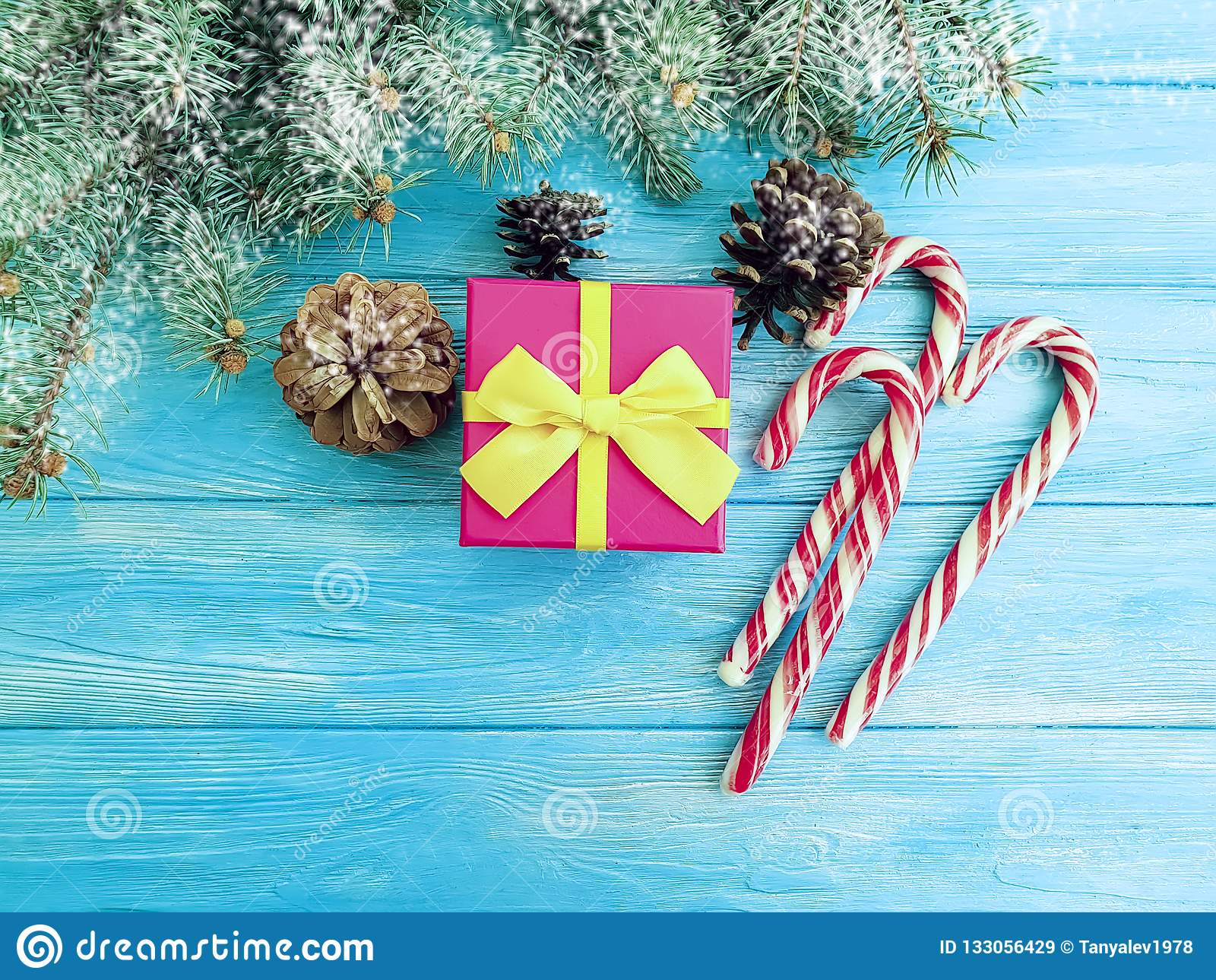 Candy Christmas Tree Branch Gift Box On A Blue Wooden Background Stock Image Image Of Copy Frame 133056429