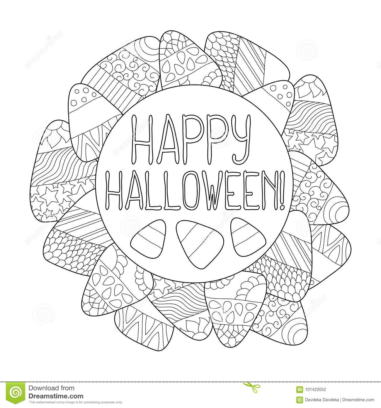 Download Candy Corn Coloring Page Happy Halloween Greeting Card Frame Stock