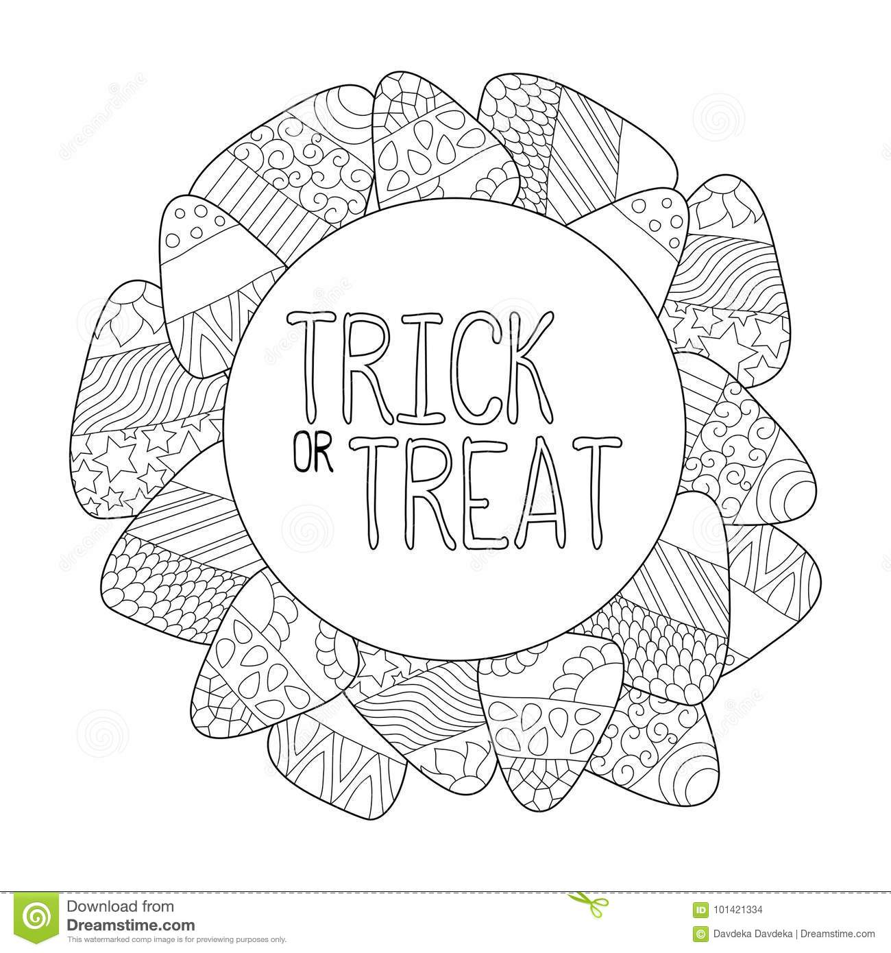 Candy Corn Coloring Page. Trick Or Treat Greeting Card. Candy Corn ...