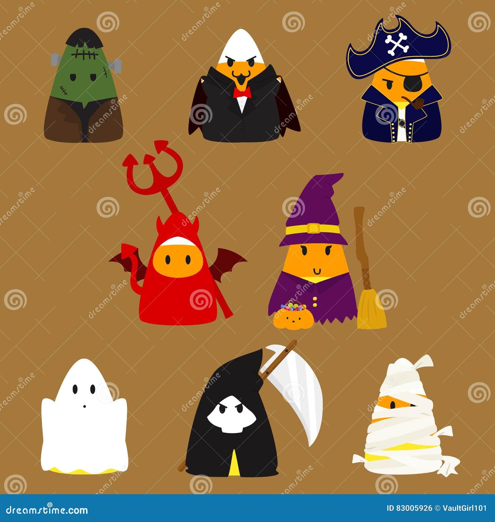 Candy Corn Halloween Costumes Vector Set