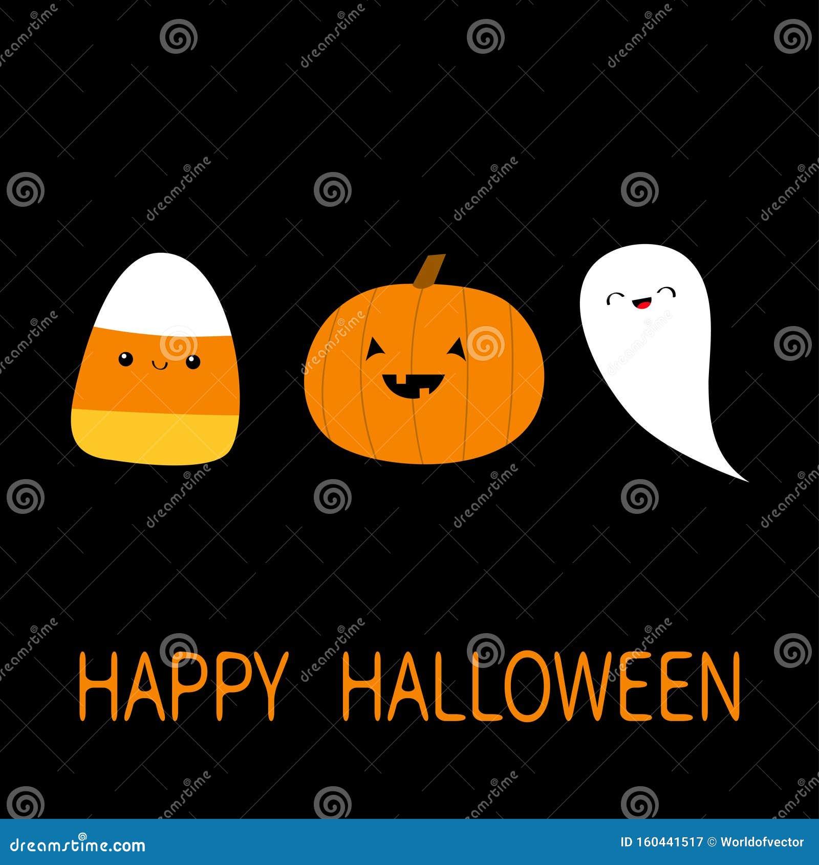 Candy Corn, Pumpkin, Ghost Spirit With Face. Cute Cartoon