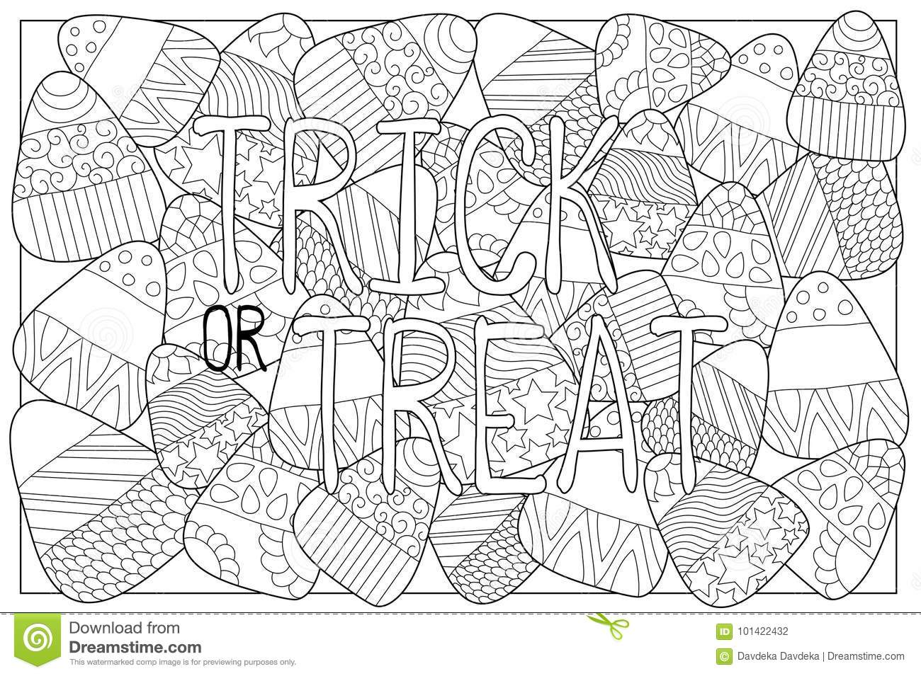 Download Candy Corn Sweets Coloring Page With Ornament Halloween