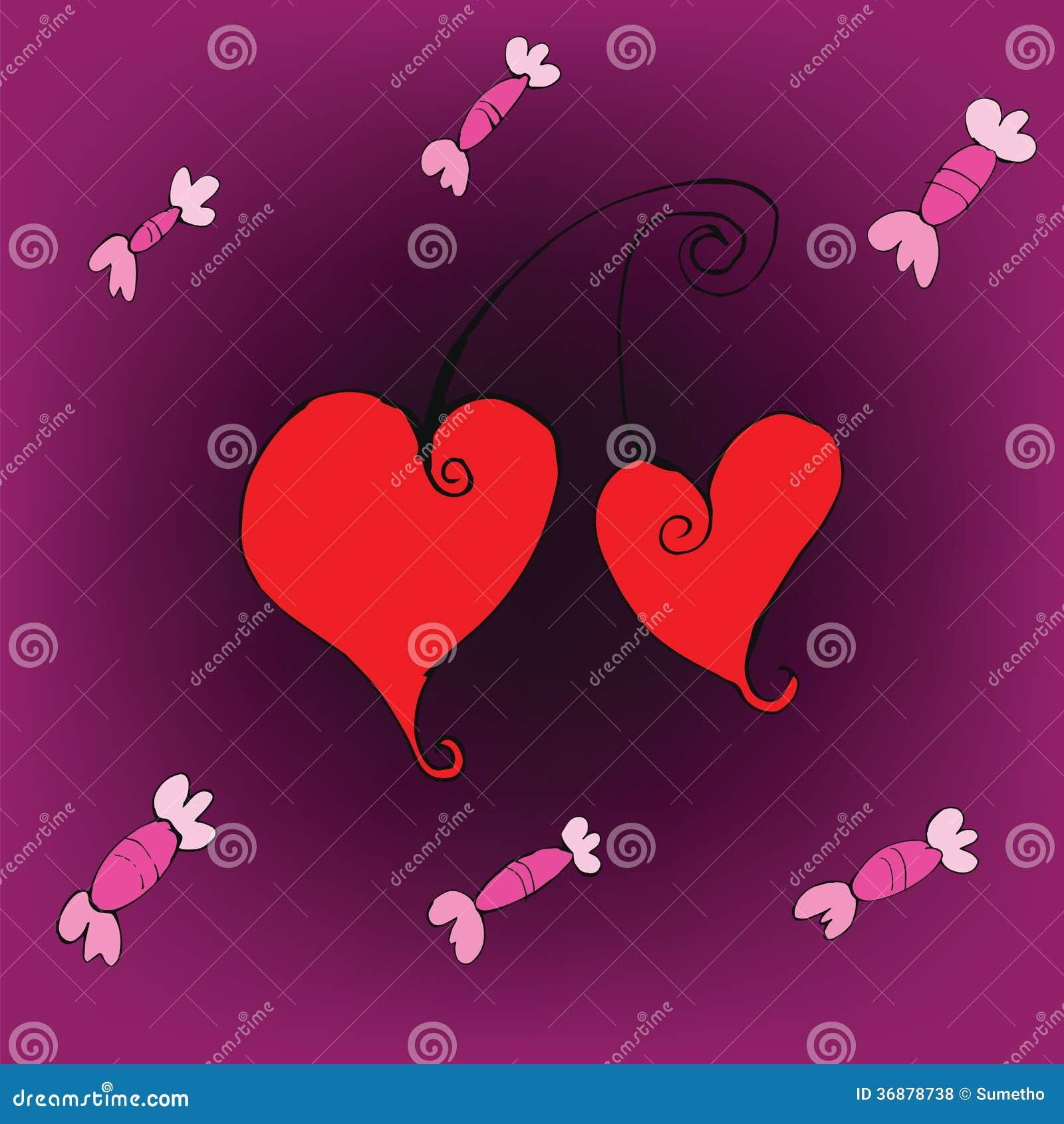 Download Candy E Fondo Di Amore Dei Cuori Della Ciliegia Illustrazione Vettoriale - Illustrazione di segno, luxurious: 36878738