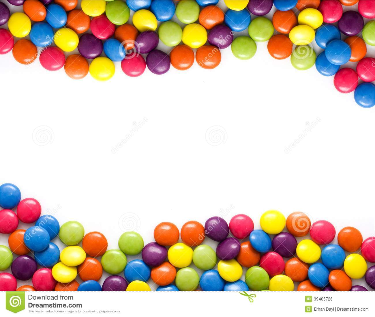 Frame made of colorful candies isolated on white.