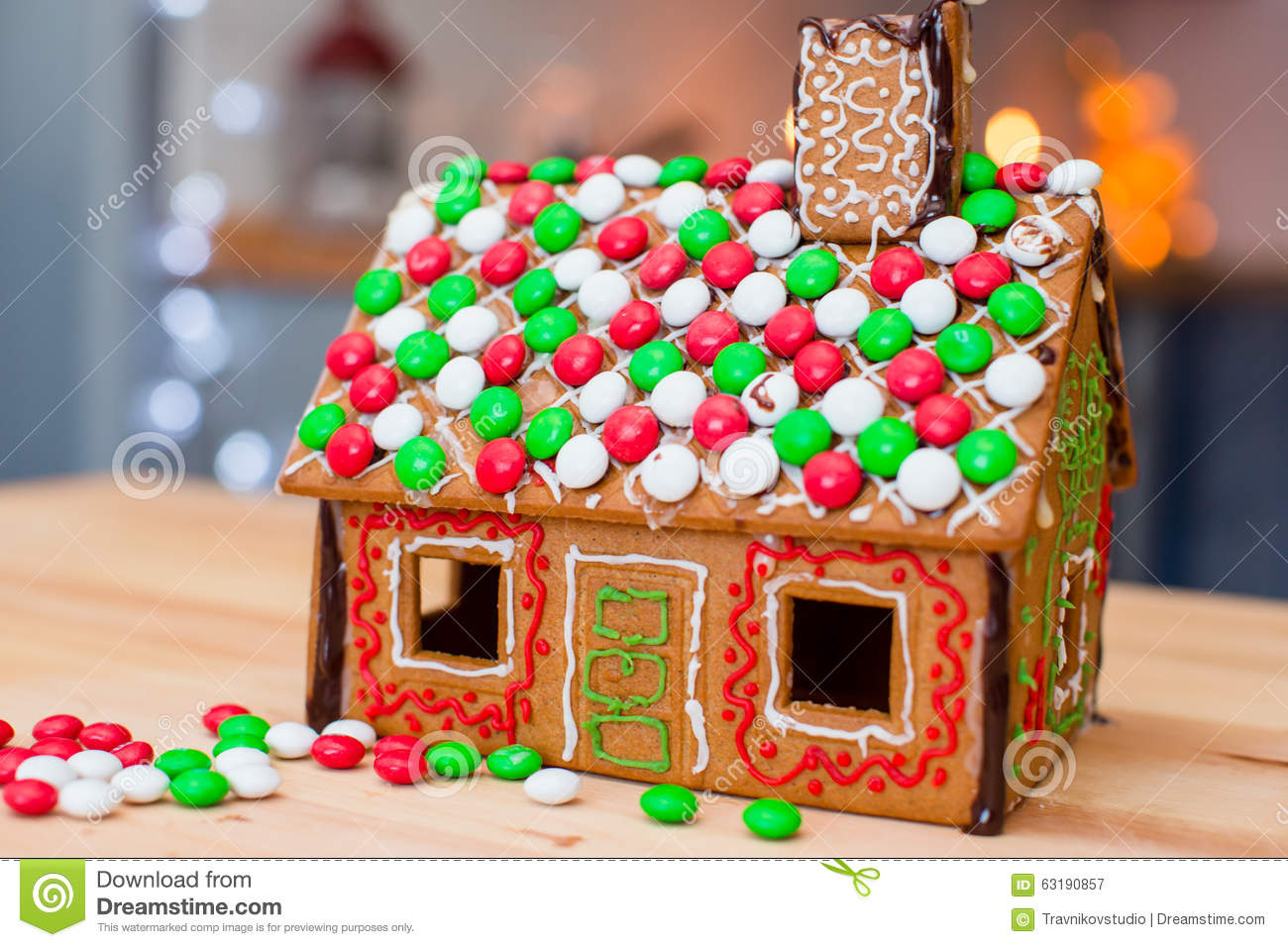 Christmas Gingerbread House Background.Candy Ginger House Background Christmas Tree Stock Image