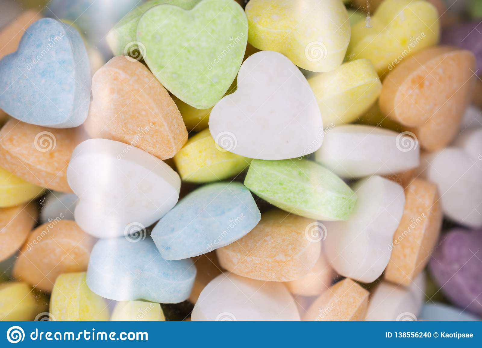 Candy, love hart colorful closeup with background