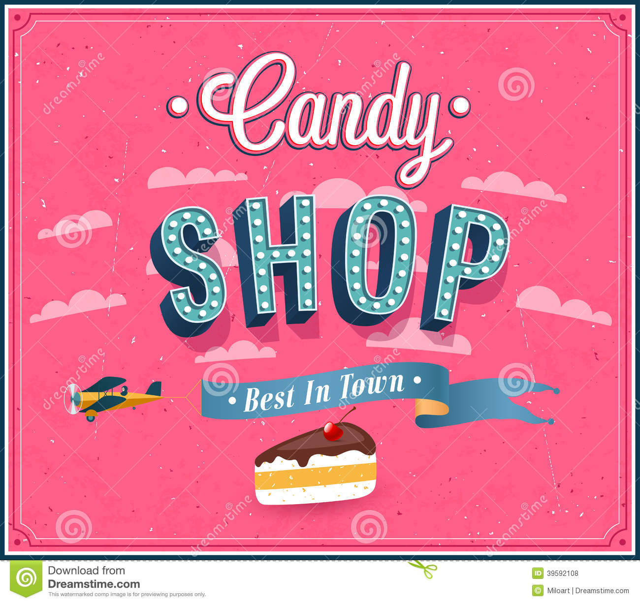Candy Shop Typographic Design Stock Vector Image 39592108