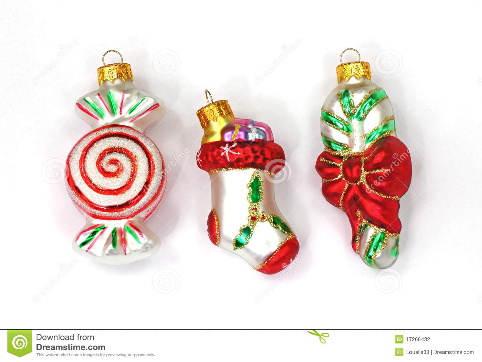 Miniature ornaments - Candy Stocking Sugar Cane Miniature Ornaments