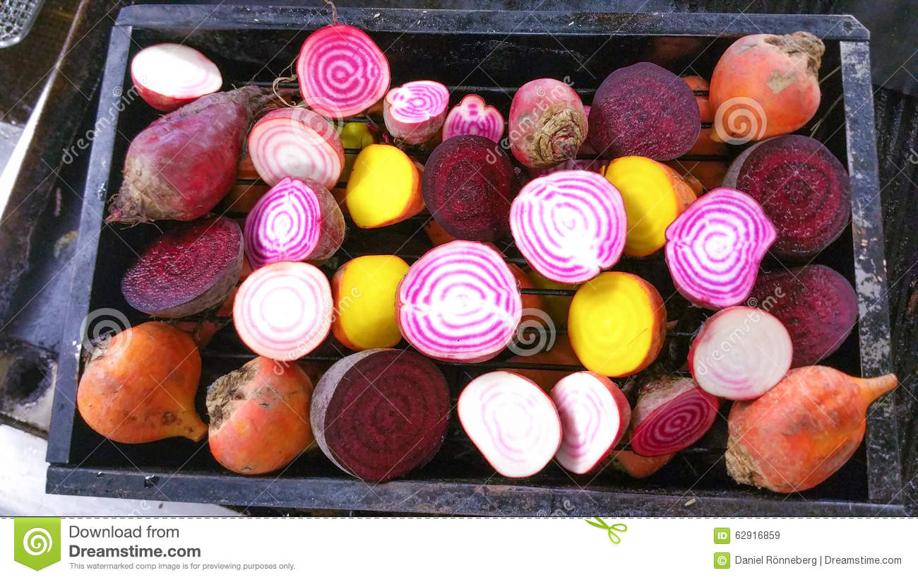 Candy stripe, golden and purple beetroot halves