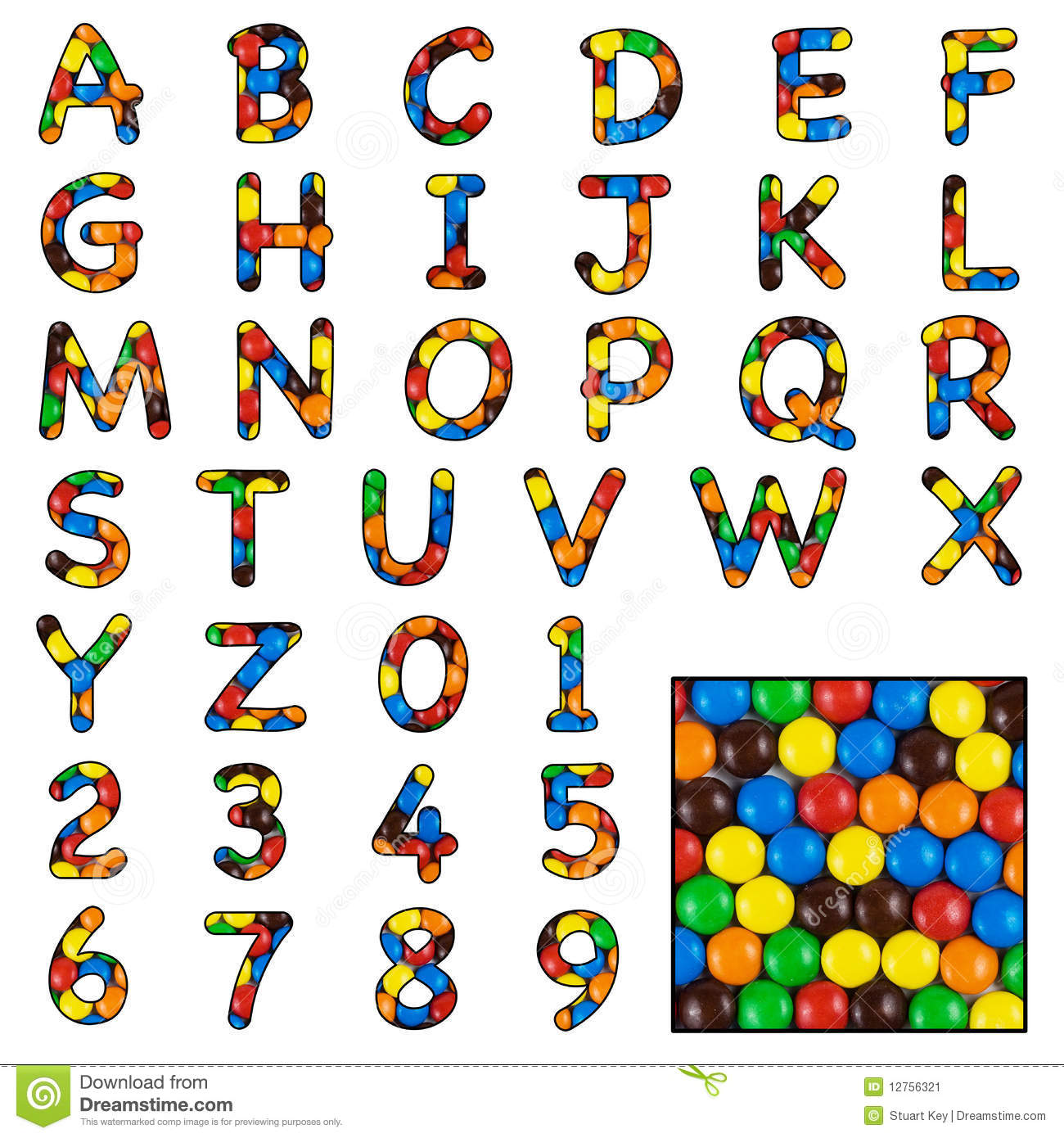 Alphabet with numbers, made with photo of brightly coloured sweets or ...