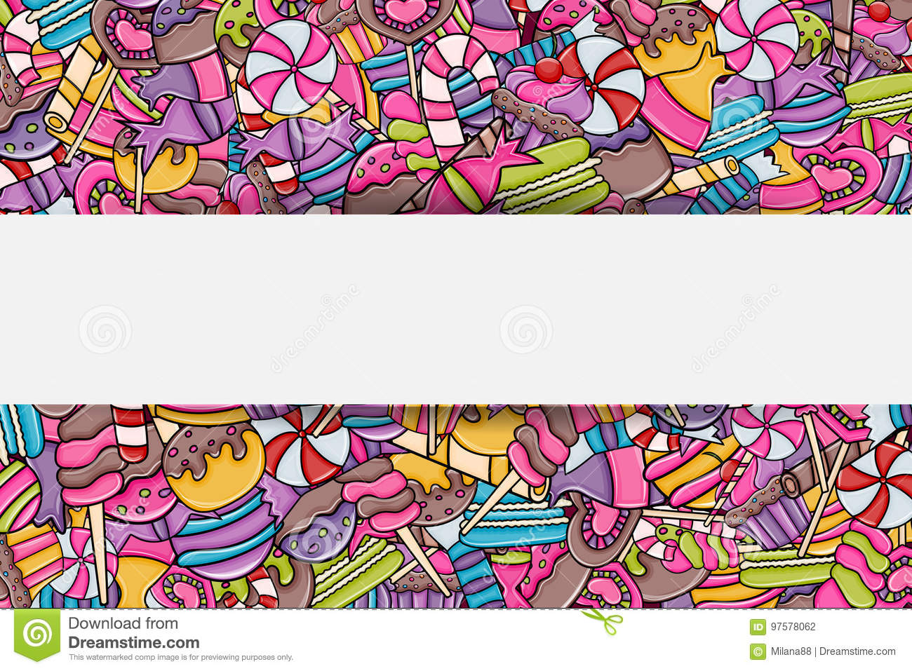 Candy And Sweets Cartoon Doodle Background Design Stock Vector