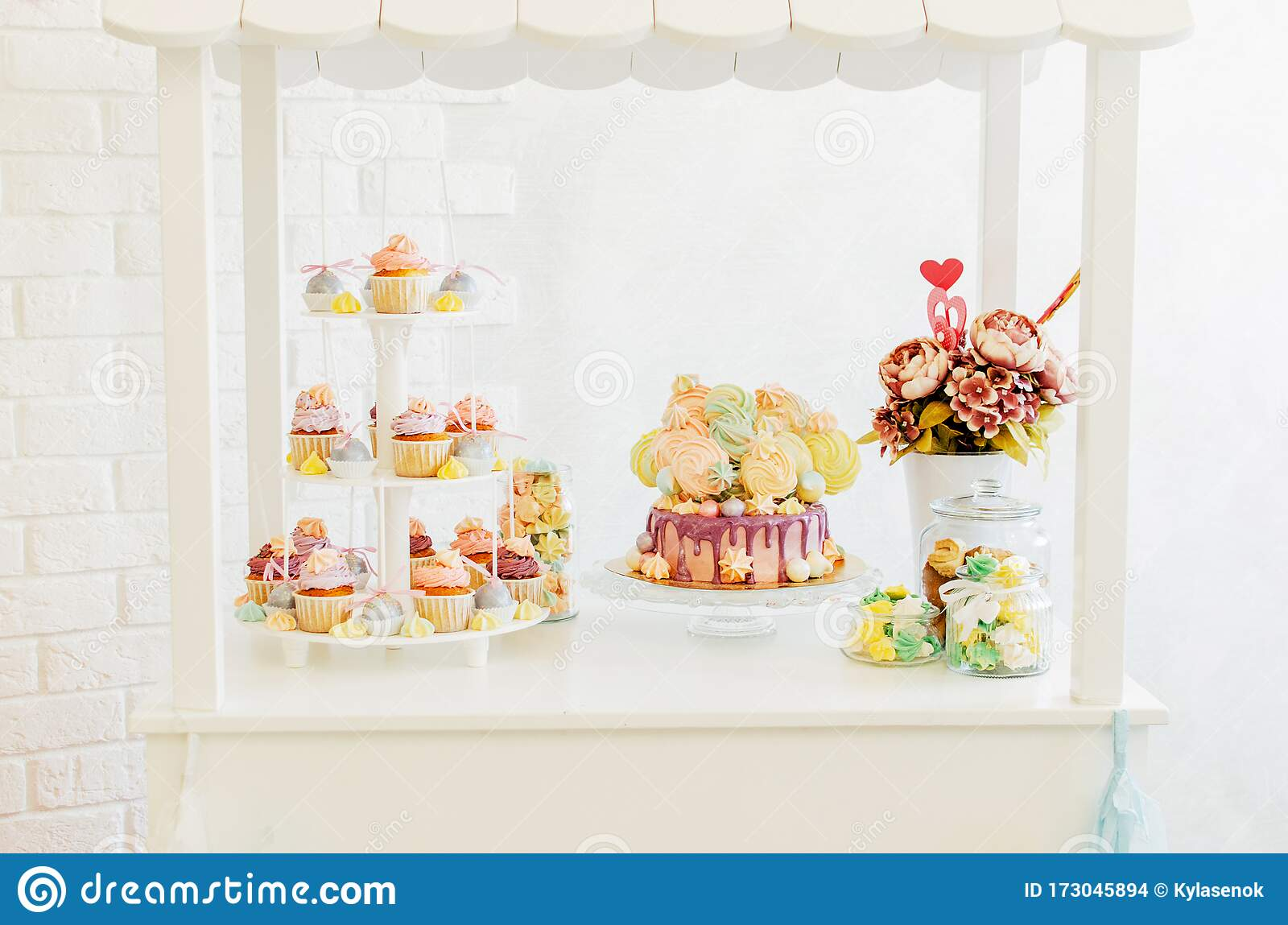 Remarkable Candybar With Birthday Cake Cupcakes And Meringue Stock Photo Personalised Birthday Cards Akebfashionlily Jamesorg
