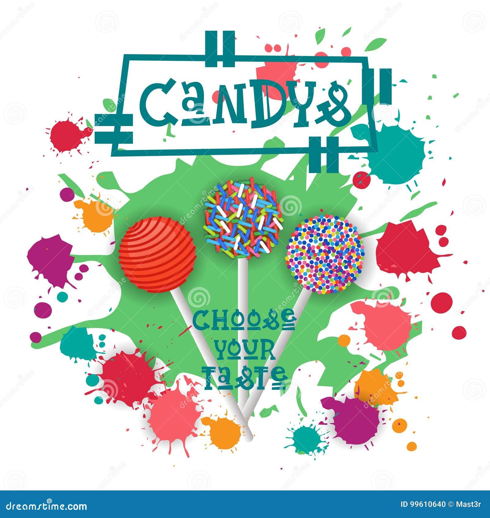 Candys Lolly Dessert Colorful Icon Choose Ihr Geschmack-Café-Plakat