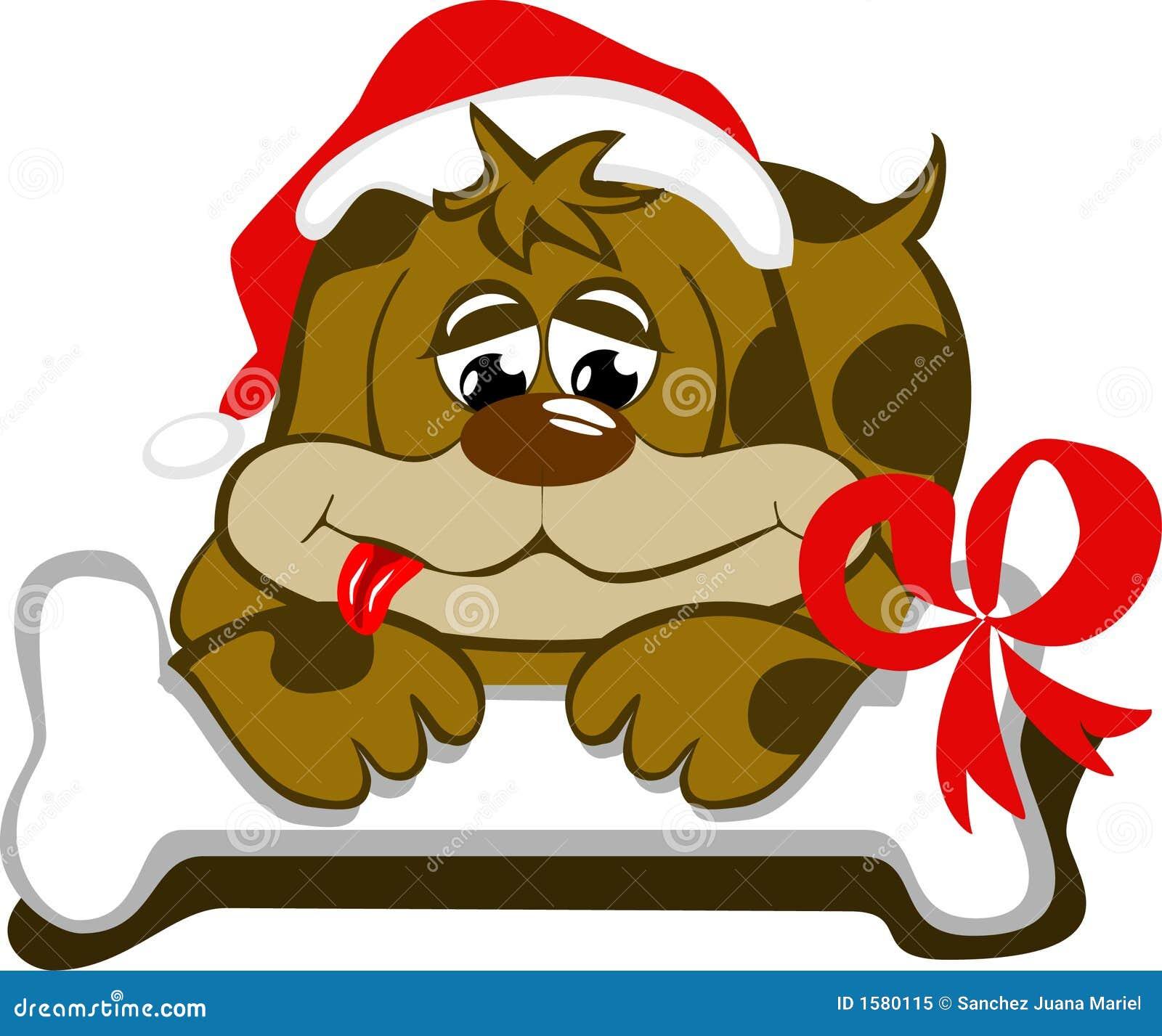 Cane con la protezione di Santa e del suo osso