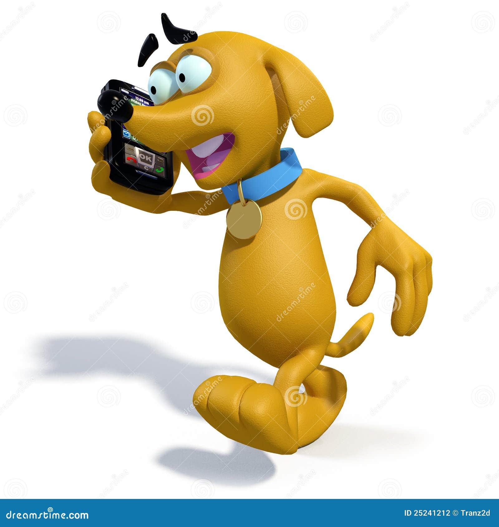 Cane del fumetto che cammina mentre comunicando su un telefono mobile