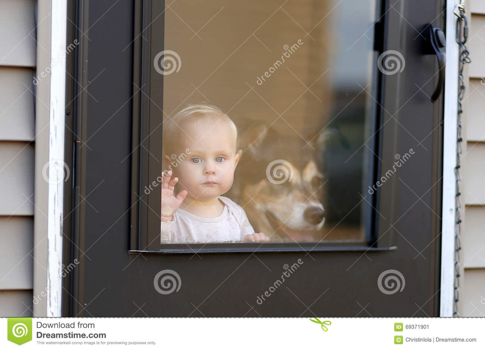 Cane di animale domestico e del bambino che aspetta alla porta che guarda fuori finestra