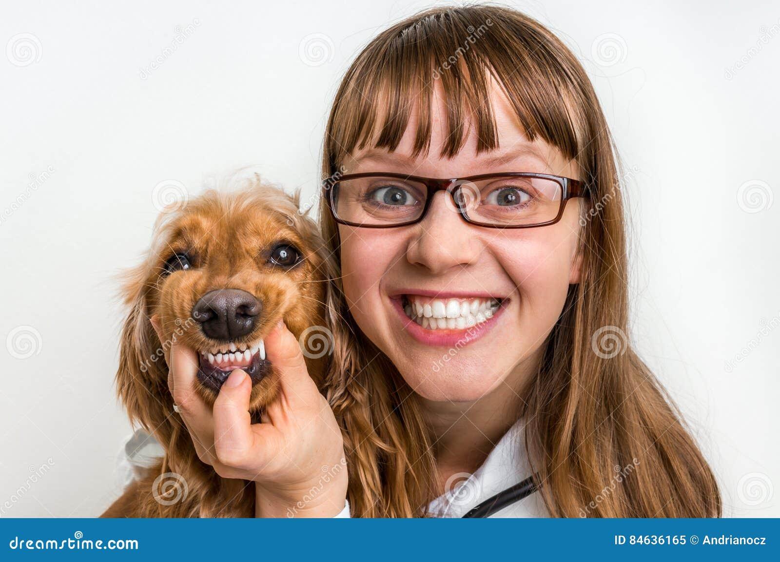 Cane e veterinario sorridenti divertenti in clinica veterinaria